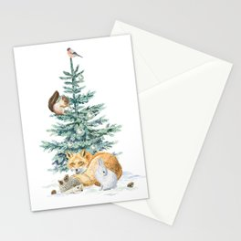christmas tree in the forest Stationery Cards