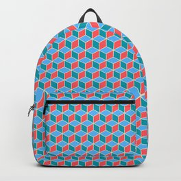 Red Blue Cube Pattern Backpack