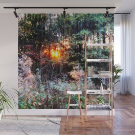 Sunset Forest : Where The Fairies Dwell Wall Mural