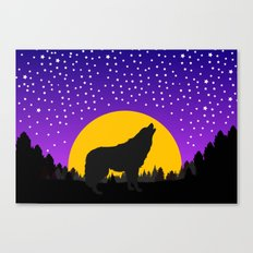 Wolf Moon Stars Canvas Print
