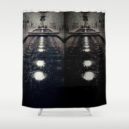 Darker Still - Fountain in Midnight and Black Shower Curtain