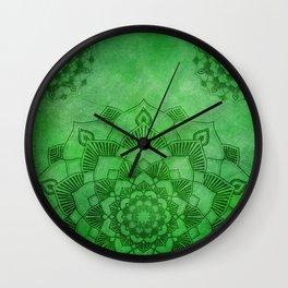 Emerald Green Lotus Mandala Wall Clock
