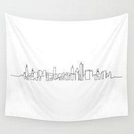 Chicago Skyline Drawing Wall Tapestry
