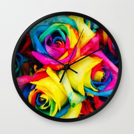 Modern multicolor artistic abstract roses flowers pattern Wall Clock