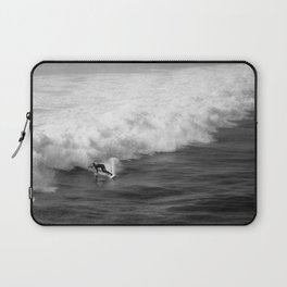 Lone Surfer in Black and White Laptop Sleeve