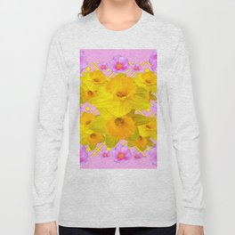 Yellow Daffodils & Pink Roses Abstract Long Sleeve T-shirt
