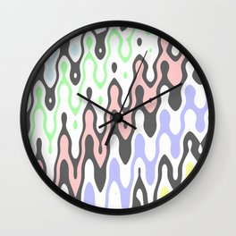 Asymmetry collection: pastel yellow green blue pink waves Wall Clock