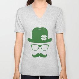 St Patricks Day Green Derby Moustache Hipster Design Unisex V-Neck