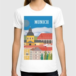Munich, Germany - Skyline Illustration by Loose Petals T-shirt