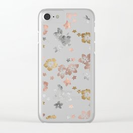 Rose Gold Copper Bronze Tropical Flowers Multi Metallic Clear iPhone Case