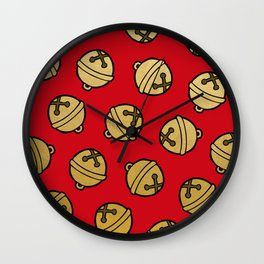Jingle Bells Christmas Pattern in Gold & Red Wall Clock