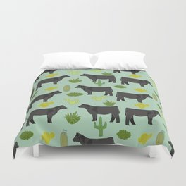 Cattle breed cactus farm gifts homestead art cow illustration Duvet Cover