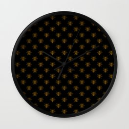 Foil Bees on Black Gold Metallic Faux Foil Photo-Effect Bees Wall Clock