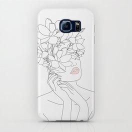 Minimal Line Art Woman with Magnolia iPhone Case