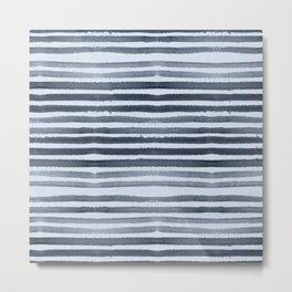 Simply Shibori Stripes Indigo Blue on Sky Blue Metal Print