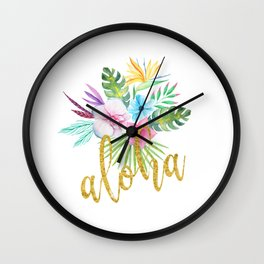 Hawaiian multicolored floral bouquet with faux gold aloha brush script Wall Clock
