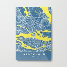 Stockholm Sweden Map   Blue & Yellow   More Colors, Review My Collections Metal Print