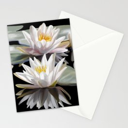White Lotus Flowers Stationery Cards