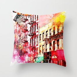 NYC Watercolor Collection - Colorful Soho Throw Pillow