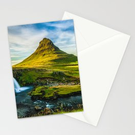 Triple waterfalls of Kirkjufell in Iceland I Stationery Cards