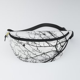 Crows Flying Birds in Tree Branches Black on White Fanny Pack