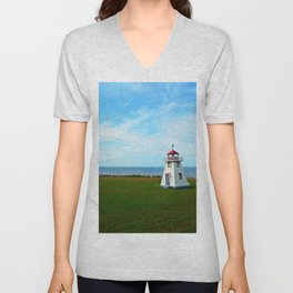 Tiny Lighthouse and Giant Bridge Unisex V-Neck
