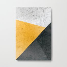 Modern Yellow & Black Geometric Metal Print
