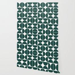 Mid Century Modern Geometric 04 Dark Green Wallpaper