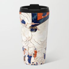 Japanese Ukiyo-e Children Exploring an Elephant Metal Travel Mug