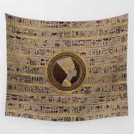 Pyrographed Golden Nefertiti on wood Wall Tapestry