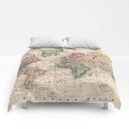 Vintage Map of The World (1833) Comforters