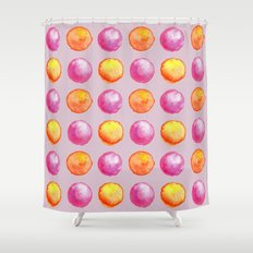 Juicy Watercolor Pink Pearls And Orange Fireballs Pattern Shower Curtain