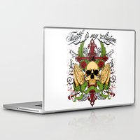 religion Laptop & iPad Skins featuring Faith is my religion by Tshirt-Factory