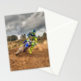 Blue and green Motocross action biker Stationery Cards