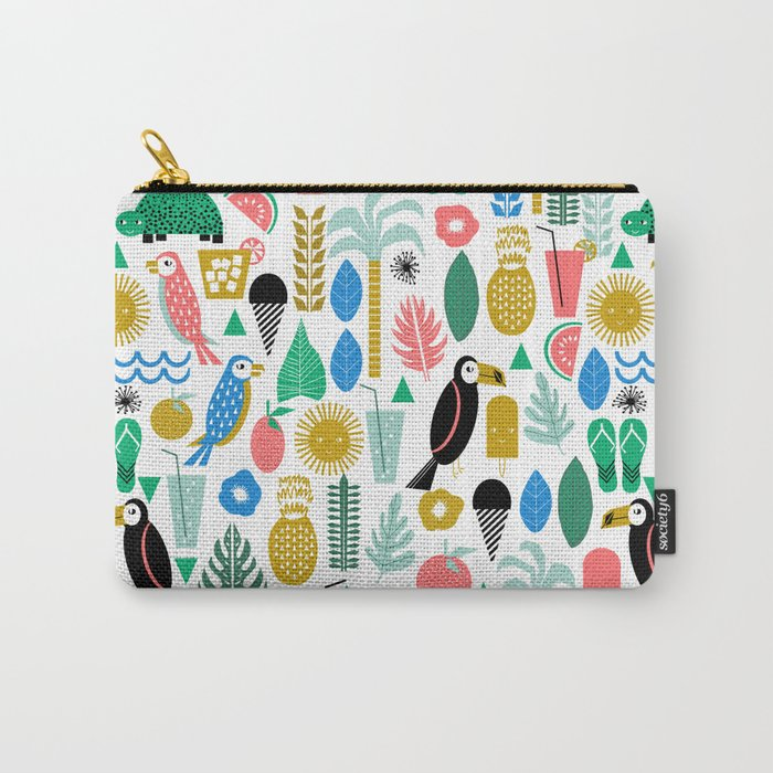 Tropical Vacation Island print pattern fun beach surf sand fun gift for trendy dorm room bright  Carry-All Pouch