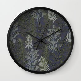 Ferns Purple Blue Wall Clock