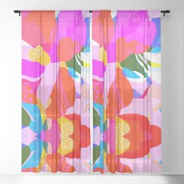 Abstract Florals I Sheer Curtain