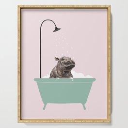Hippo Enjoying Bubble Bath Serving Tray