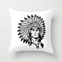 headdress Throw Pillows featuring Headdress by Gregg Deal