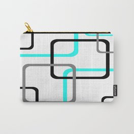 Geometric Rounded Rectangles Collage Teal Carry-All Pouch