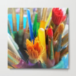 Colourful paint brushes Metal Print