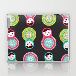 dolls matryoshka on black background, pink and blue colors Laptop & iPad Skin