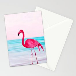 Pink flamingo on a beach Stationery Cards