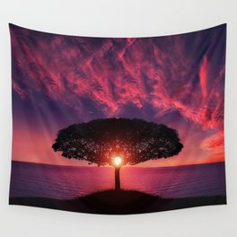 Sunset On The Sea Wall Tapestry