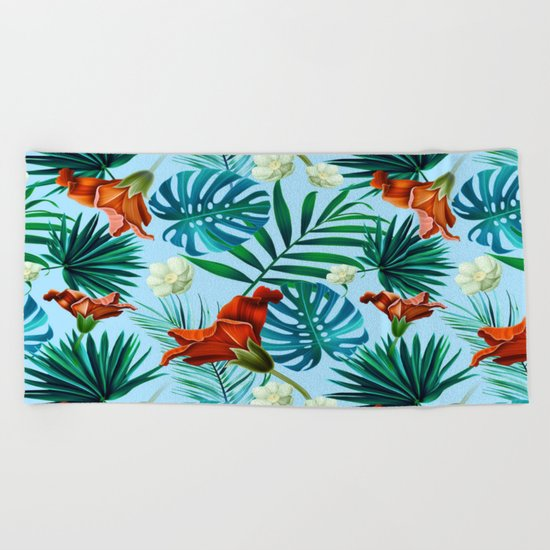 Tropical pattern Beach Towel