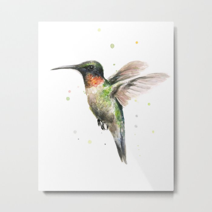 Hummingbird Watercolor Bird Animal Ruby Throated Metal Print