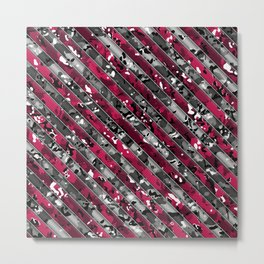Hot Pink and Grey Striped Multicamo Camo Metal Print