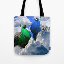 GREEN PEACOCK & BLUE PEACOCK CLOUDS MODERN ART Tote Bag