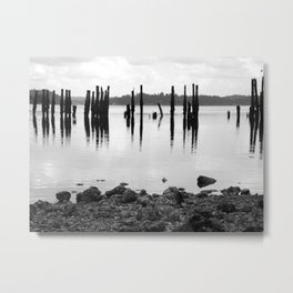 Waterfront Park in Black and White Metal Print