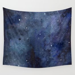 Galaxy Nebula Watercolor Night Sky Stars Outer Space Blue Texture Wall Tapestry